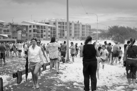 Alexandra Headland main road covered in foam