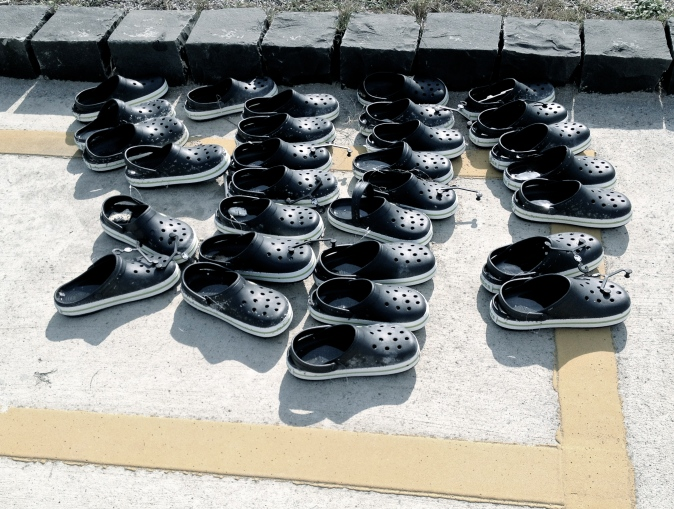 A collection of shoes in the carpark, yet there was not a soul on the beach?